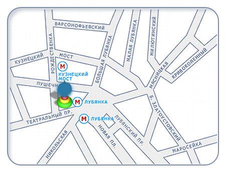 карта города Москва, магазин Детский мир (Театральный проезд).  Схема проезда к магазину Детский мир.